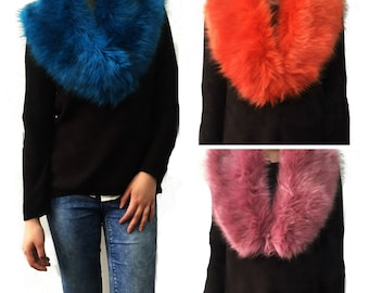 Faux Fur COLLAR, Women's Fur Neckwarmer, Bright Colour Fur Scarf, Handmade Faux fur Stole