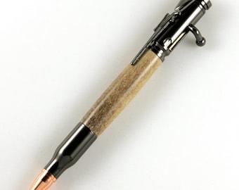 Caribou Antler 30 Caliber Bolt Action Gun Metal Bullet Cartridge Pen