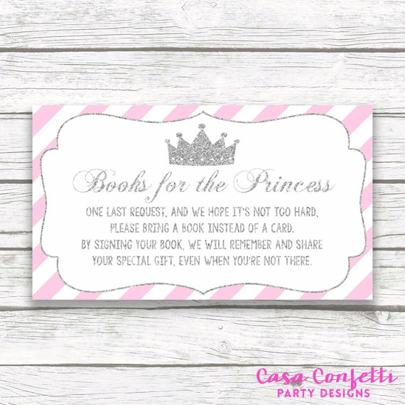 bring a book instead of a card baby shower insert pink and silver