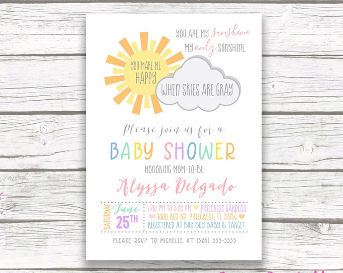 You Are My Sunshine Baby Shower Invitation, Rainbow Baby Shower Invitation, Sunshine Invitation, Baby Shower Invite Girl, Printable Invite