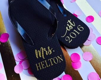 Bride Labels, DIY Project,  Bride Flip Flops, Flip-Flops, Personalized Flip Flops, Bride, Bridal Shower Gift, Bachelorette GIft, Bridesmaid