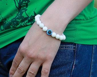 evil eye bracelet Mala bracelet Yoga Bracelet Meditation Bracelet spiritual bracelet Yoga Jewelry protection bracelet White Agate bracelet