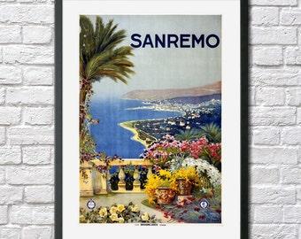 Vintage Travel Poster Italy Sanremo San Remo Italian Antique Art Deco Print travel Art retro Poster