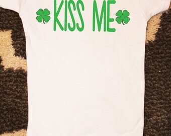 Kiss Me St. Patrick's Day 2016 Outfit, St. Patty's Day Onesie, St Patricks Day Onesie, Four Leaf Clover Onesie