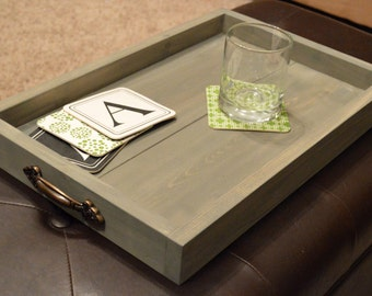 Wooden Tray, Rustic Wooden Tray, Wooden Ottoman Tray, Ottoman Tray, gray ottoman tray, gray wooden tray, gray washed