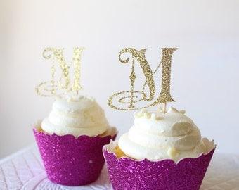 Custom Monogram Cupcake Toppers - Cupcake Toppers - Glitter Monogram - Wedding Monogram - Engagement Party - Bridal Shower Decorations