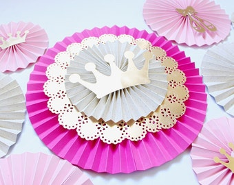 Paper Rosettes - Paper Fans - Paper Pinwheels - Pink and Gold Princess Party - Pinwheel Backdrop - Baby Shower Decorations - Ballerina