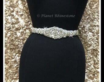 Hot Fix Beaded Rhinestone Bridal Sash Applique (Rhinestone Belt/Swarovski Shine) #0410