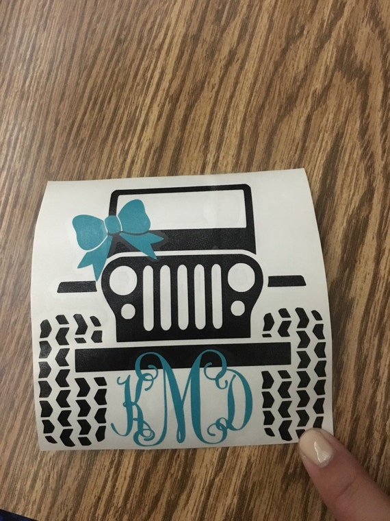 Monogrammed Jeep Decal Car Decal Cup Decal Yeti Decal - Jeep vinyls for yeti cups