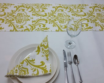 """Lot of 6 tablerunners, 72"""" x 12 party runners, Traditions artist green and white, table runner RTS 625"""
