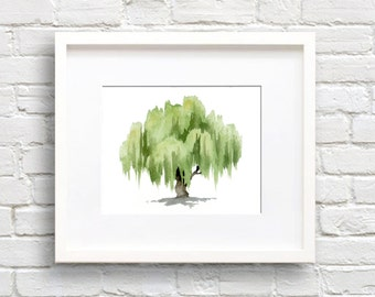 Watercolor Print Willow Tree   Willow Tree Art Print   Wall Decor   Painting