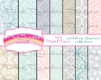 Wedding Elegance Digital Scrapbook Pattern Papers ~ Damask ~ Romance ~ Love ~ Ceremony ~ Forever ~ Pastel ~ Eternity