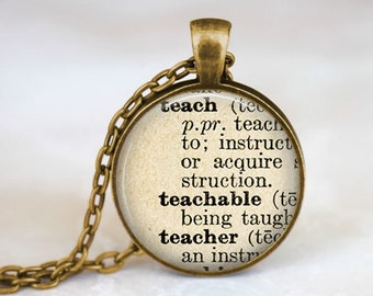 Teacher Necklace • Teacher Gift • Teacher Definition • Gifts for Teachers • Teacher Dictionary Quote • Dictionary Quote Jewelry