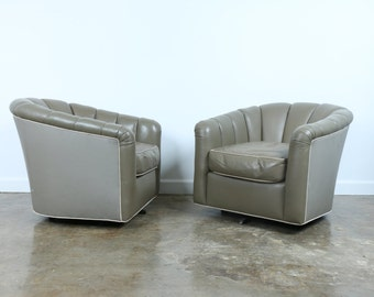 Vintage Pair of Leather and Vinyl Swivel Chairs