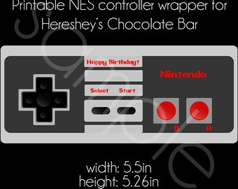 Printable Nintendo NES Controller Hershey's Chocolate Bar Wrapper - Video Game Birthday Party