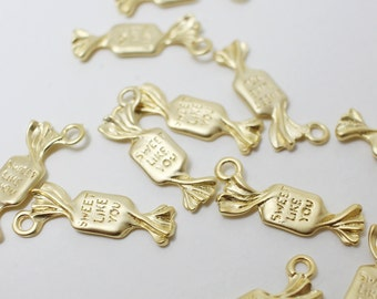 P0395/Anti-tarnished Matte Gold Plating Over Pewter/Candy pendant,SWEET LIKE YOU/8x21mm/4pcs