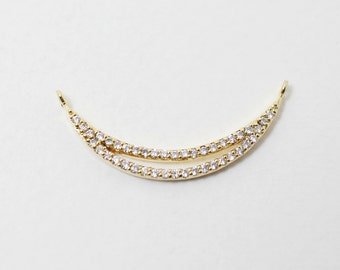 P0157/Anti-Tarnished Gold Plating Over Brass/Crescent Cubic Zirconia Connector For Necklace,Bracelet/28x11mm/1pcs