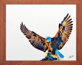 Eagle painting, wildlife watercolour, bird painting, wildlife wall art, digital print.