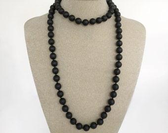 Long Black Onyx bead Necklace
