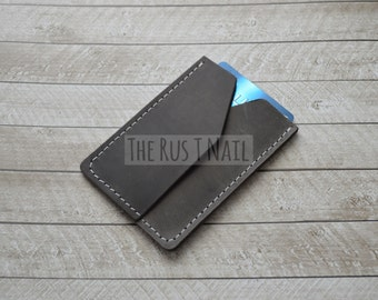 FREE SHIPPING - Genuine Leather Rugged Credit Card Wallet - Coffee