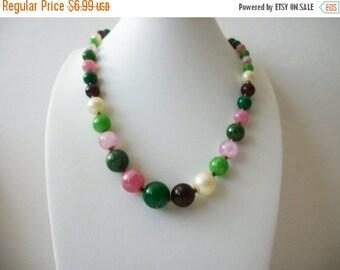 ON SALE Vintage Colorful 1960s Plastic Faux Pearls Necklace 81216