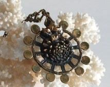 Pentti Sarpaneva Turun Hopea Finland signed round bronze pendant on chain 3D flower Mid Century Brutalist Scandinavian Finnish Nordic