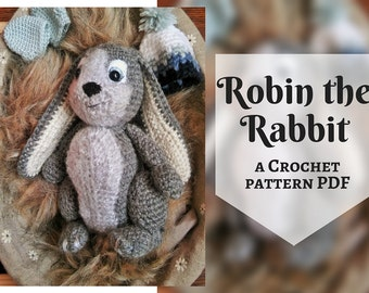 Robin the Rabbit, Crochet Doll Pattern, Amigurumi Bunny, PDF in English
