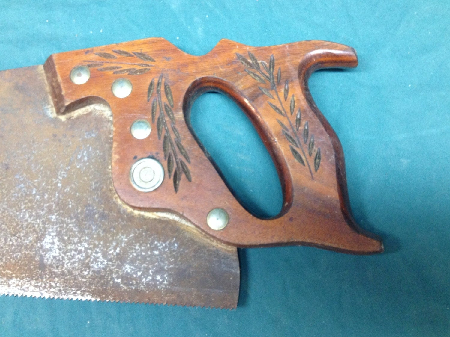 Vintage Warranted Superior Hand Saw w/Wheat Carvings Rusty