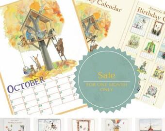 Animo's Magical Birthday Calendar Kids design interior decor watercolor christmas gift forever calendar Childrens Rooms Art Illustration