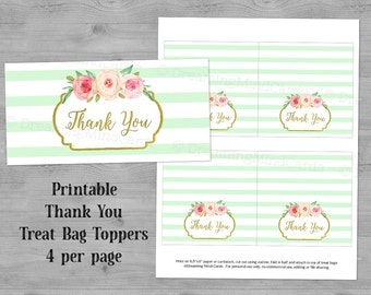 Printable Thank You Treat Bag Toppers Mint Green Stripes Watercolor Flowers Wedding Baby Shower Instant Digital Download Favor Bag Labels