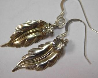 Vintage Sterling Silver gold plate CZ Earrings