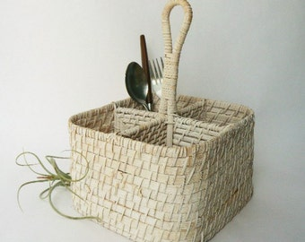 Four Section Wicker Utensil Caddy Carrier-Arts and Crafts Organizer-Home and Office Pencil/Pen Organizer Basket-White Washed Rattan-8x8x11""