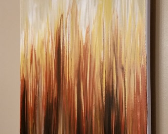 Original Abstract Canvas Painting 16x20 Acrylic - Blaze - Red orange brown white - with black frame option!
