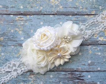Ivory baby headband- ivory headband- ivory newborn headband-ivory vintage lace headband- ivory baptism headband-ivory christening headband-