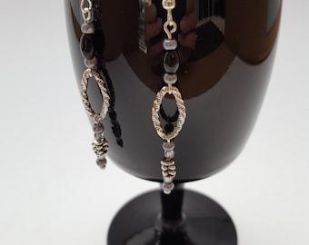16001E Black Onyx and Glass Pearl Earrings