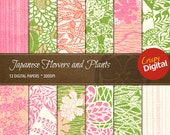 Japanese Flowers and Plants Vol. 5 Digital Papers 12pcs 300dpi Instant Download Scrapbooking Printable Paper