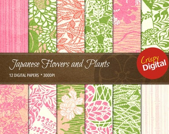 Flowers and Plants Digital Papers Japanese Pattern Collage Sheets Vol. 5  12pcs 300dpi Digital Download Scrapbooking Printable Paper