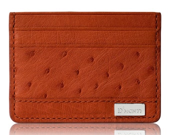 D'Monti Allard Orange Black Friday Gift Ideas France Luxury Genuine Real Ostrich Leather Mens Womens Unisex Credit Card Holder Slim Wallet