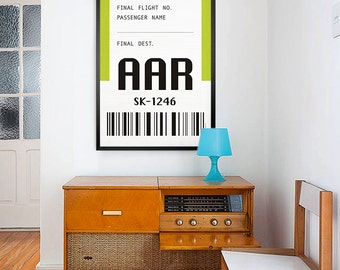 Travel to Aarhus Denmark – AAR luggage tag. Baggage Tag travel print. Airport Code. Typographic. Simplistic poster.