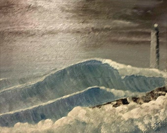 Jeffers Landscapes, Dave Jeffers Artist, Original painting, lighthouse in storm, 24X18 oil painting, lighthouse...Light in the Storm