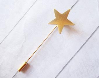 Gold star stick pin Star bar pin Gold lapel pin Brass stick brooch Sky Wedding Bridesmaids Bridal Gifts for her Women jewelry