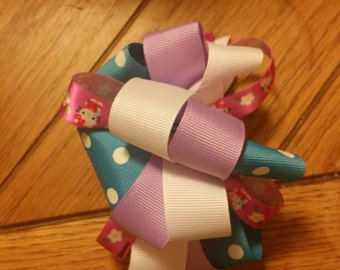hello kitty hairbow, loopy bow, hello kitty, hairbow, girls hairbow