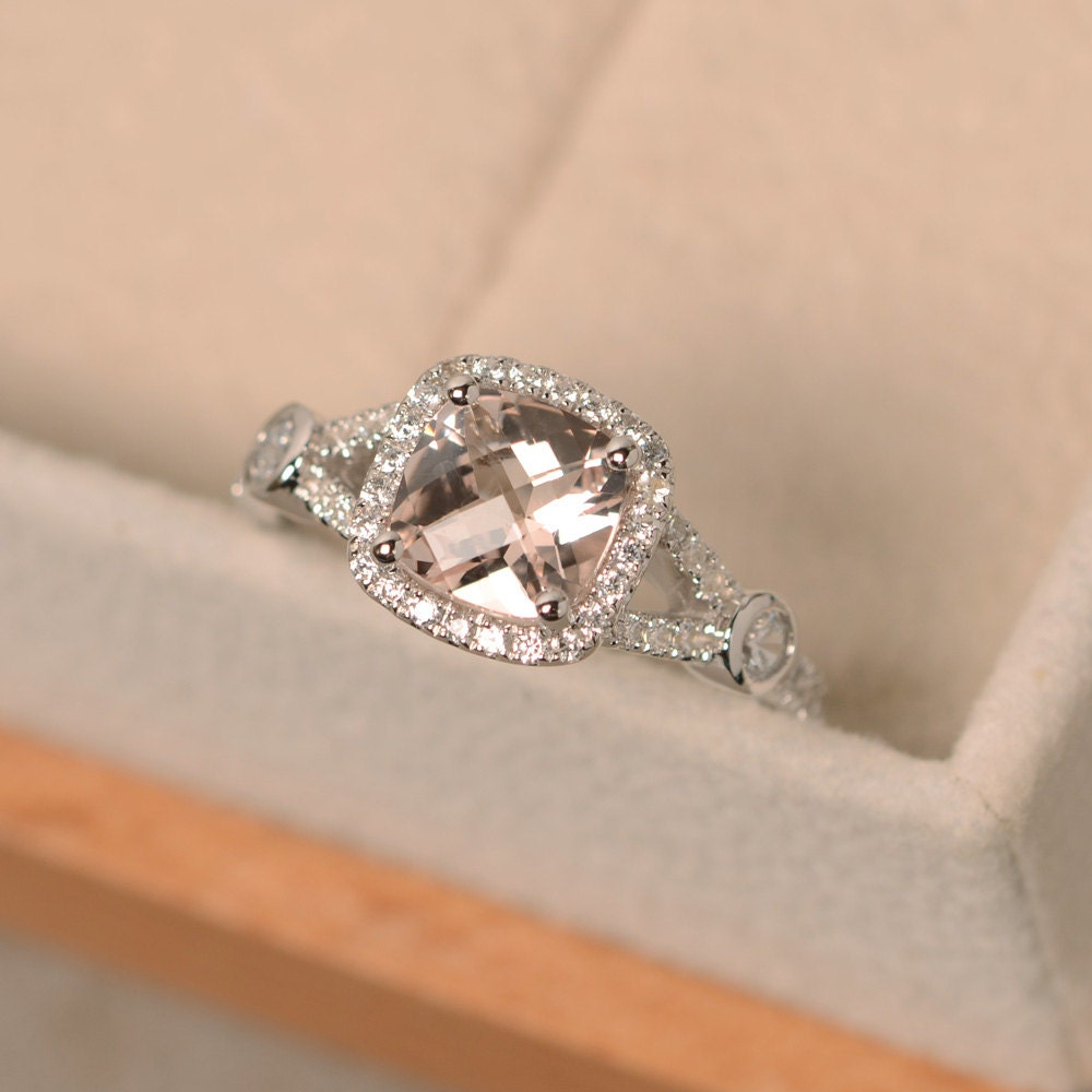 morganite ring cushion cut ring engagement ring pink