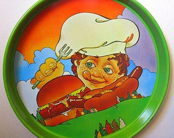 Vintage 70s Cheinco Housewares Aluminum Tray with Chef, Burger, and Sausage in the Forest Print