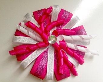 Pink Glitter Bow- Alligator Clip- Gem