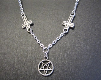 Inverted Cross & Pentagram Necklace, Silver plated