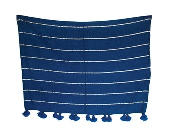 FREE SHIPPING Moroccan Handspun Cotton Blanket with Pom Poms, Silver Stripes on Blue