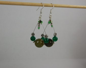 Gemstone and Crystal Dangled Earrings