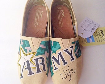 Custom army wife toms - paratrooper TOMs canvas shoes - hand painted army shoes - army gift - army corps of engineers shoes - army wife gift