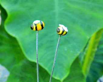 polymer clay bees for fairy garden set of 2